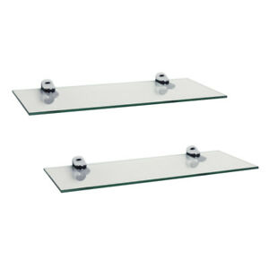 set of 2 clear glass floating shelves with chrome brackets 16 x 6 rh ebay com chrome floating shelves chrome floating wall shelves