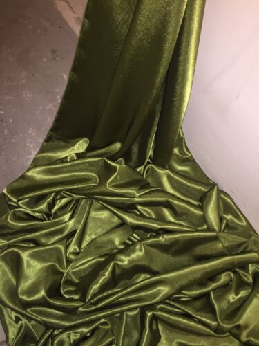 """1 mtr quality olive green crepe back satin fabric..58"""" wide 147cm"""