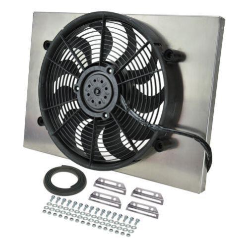 "Derale 16828 High Output Single 17/"" Electric RAD Fan//Aluminum Shroud 24/"" Width"