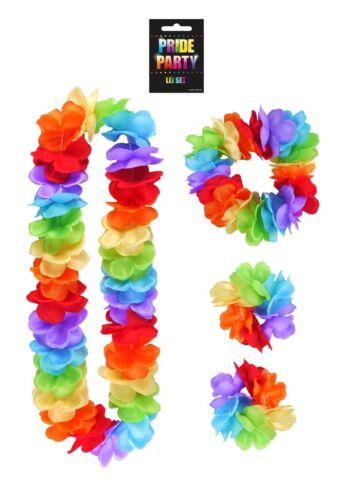 4Pcs LEI HULA SET Hawaiian Flower Hen Party Gay Pride Fancy Dress Costume NEW UK