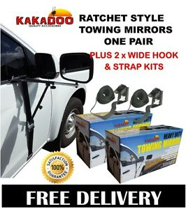 CARAVAN-TOWING-MIRROR-HEAVY-DUTY-RATCHET-STYLE-PAIR-WITH-EXTRA-WIDE-HOOK-KITS