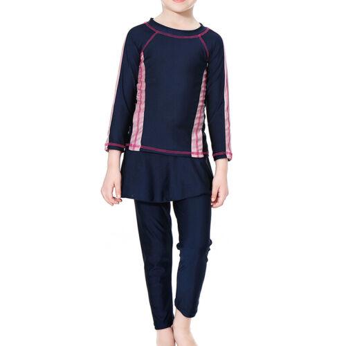 Swim Cap Swimwear 3PCS Islamic Kids Girls Muslim Swimsuit Long Sleeve Modest