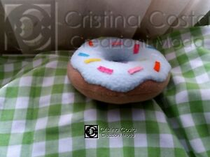 Cuscino A Forma Di Ciambella.Dettagli Su Cuscino Fantasia Donuts Ciambella Azzurra Mis Mignon 15 Cm A Forma Di Biscotto