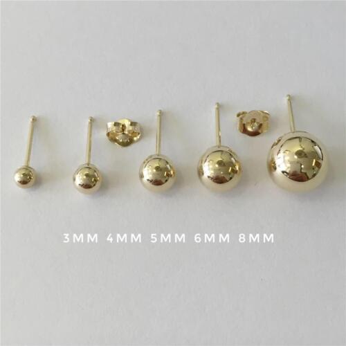 14K Or Jaune Haute polonais Boule Clous D/'oreilles 3 mm 4 mm 5 mm 6 mm 8 mm Top Qualité