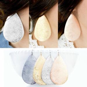 Metallic-Teardrop-Earring-Large-Water-Drop-Dangle-Ear-Stud-Women-Fashion-Jewelry