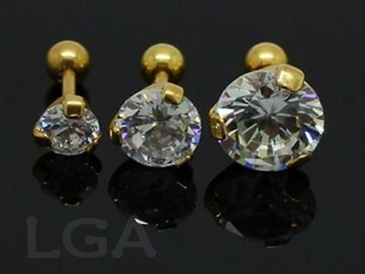 1 Tragus Bar Ring Helix Cartilage Ear Stud 16g 6mm SOLITAIRE 5 7 or 9mm GOLD PL.