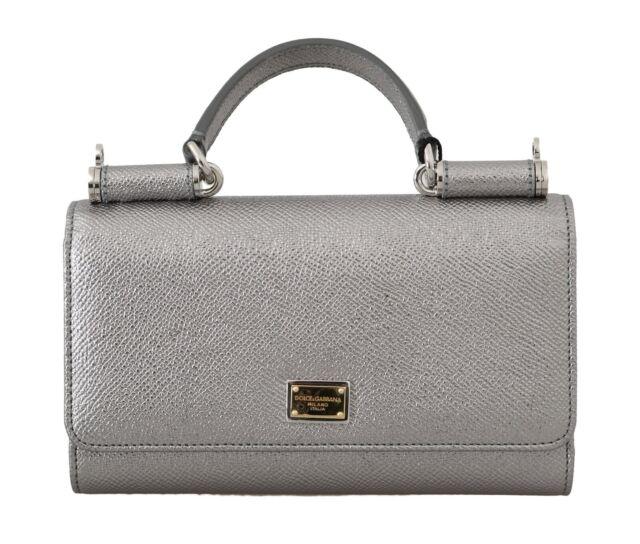 Dolce Gabbana Phone Crossbody Clutch Case Sicily Von Bag Silver 07213