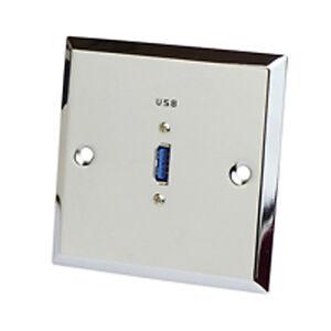 Dynavox Muro-anschlußblende in acciaio inox USB 3.0 CROMO MASCHERINA sotto intonaco BARATTOLO  </span>