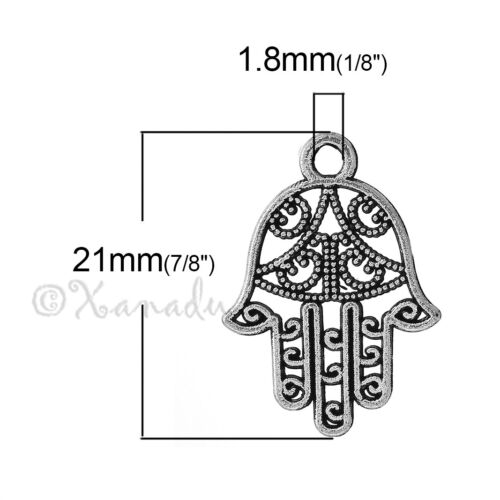 Hamsa Hand Charm Wholesale Silver Plated Pendants C1509-10 20 Or 50PCs