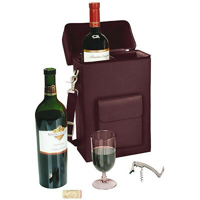 Royce 'Connoisseur' Wine Carrying Carrier, Premium Bonded Leather, Burgundy