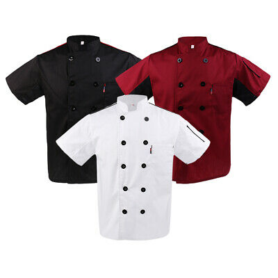 Chef Coat Kitchener Jacket Cook Uniform Food Catering Workwear Short Sleeves Top