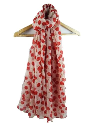 NEW MID TO NAVY BLUE SCARF RED CHERRY PATTERN SHAWL WRAP ON TREND LADIES SCARVES