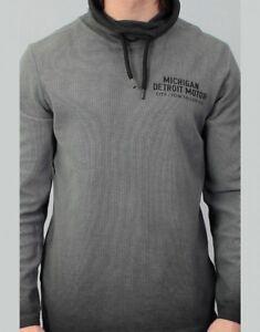 Details zu Tom Tailor Herren Pullover Langarmshirt Snood with Embro grau