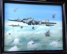 ORIGINAL WW2 AVIATION ART PAINTING US BOMBER B-17 in Flight GIFT from B-24 pilot
