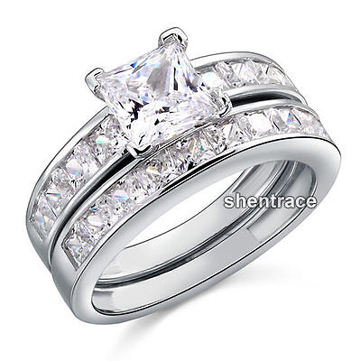 925 STERLING SILVER 3 Stone Square CZ Promise Dress Ring Size 6 7 8 9 L N P R