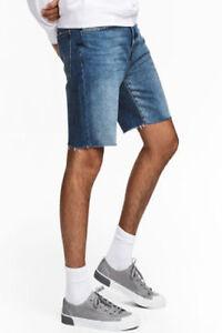 Hombre-LCJ-Denim-Ajustado-Clasico-Cortado-Pantalones-Cortos-Vaqueros-Elasticos