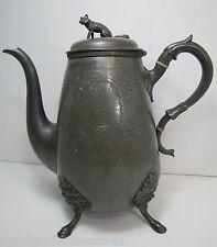 Antique 19c Victorian Wilcox Meriden Figural Coffee Pot wolf hound bachuus devil