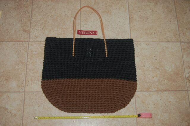 Merona Tote Bag Purse Large Oversize Lined Beach Straw Leather Brown Blk