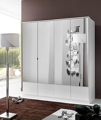 SlumberHaus German Imago 4 Door White and Mirror Door Wardrobe