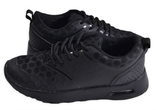Boys Trainers New Kids Plain Back To School Plain Black Lace Up Shoes UK 6-13