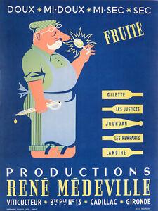 Affiche-Originale-Alain-Bourdier-Vin-Productions-Rene-Medeville-V-1950