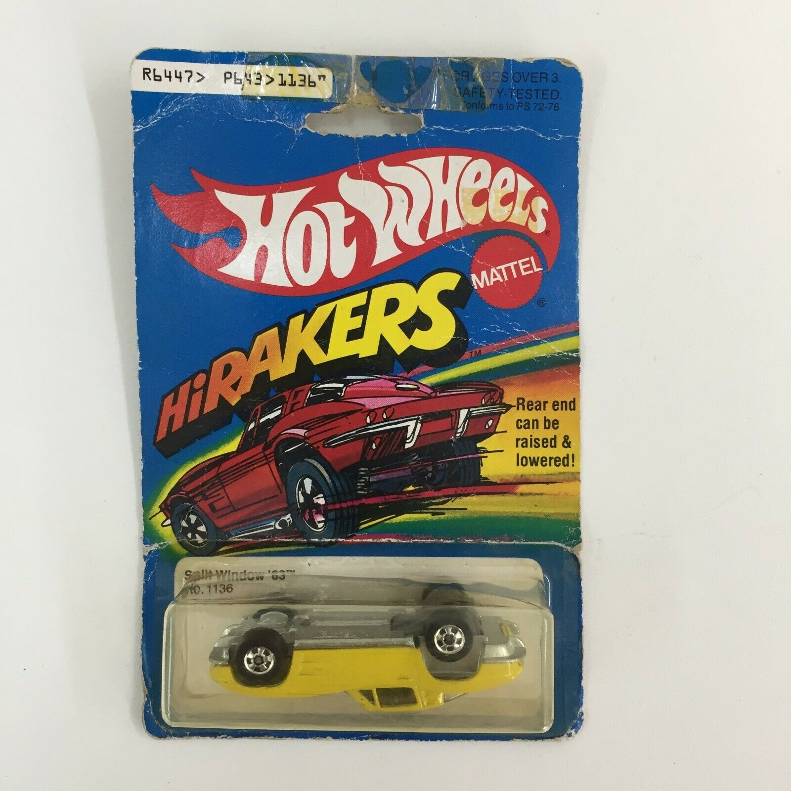 HOT WHEELS CORVETTE SPLIT WINDOW '63 ON CARD HIRAKERS NEW 1979 UPSIDE DOWN 1136