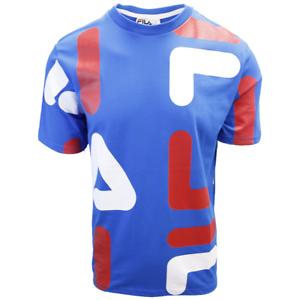 FILA-Men-039-s-Azure-Blue-Red-White-Letters-S-S-T-Shirt-S02A