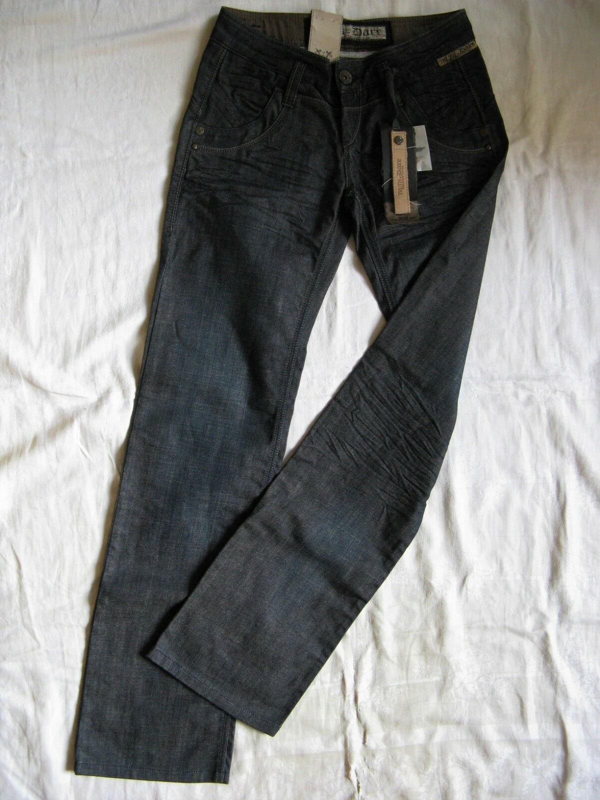Truth & & & dare Donna blu Jeans Stretch w27 l34 regular fit low waist straight leg 0bb73f