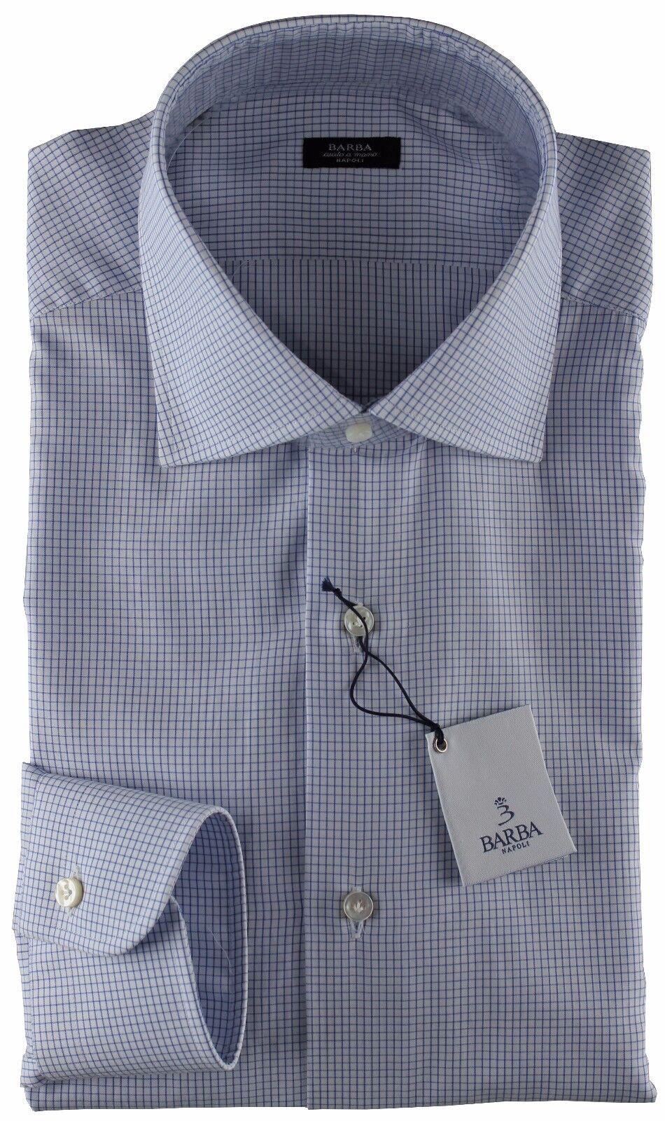 NWT BARBA NAPOLI DRESS hemd schwarz label Weiß Blau check handmade 43 17