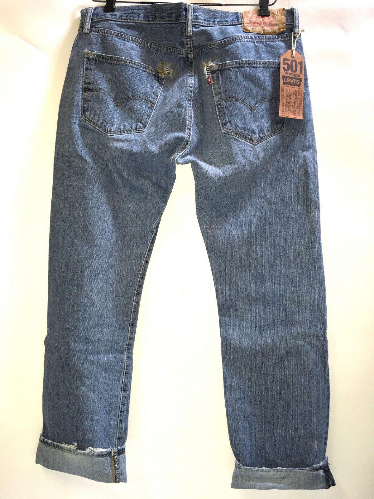 Levi's 501 Jeans Distressed Work Denim W36 x L32 … - image 2
