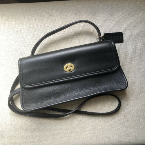 Vintage Coach Black Leather Legacy Geometric Cross