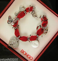 Bongo Red Velvet Ribbon With Silver Plated Charm Holiday Bracelet