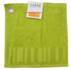 2-Garnier-Thiebaut-Cotton-French-Spa-Face-Hand-Square-Towels-New-Lime-Green