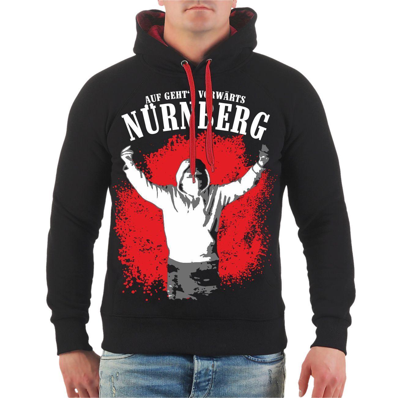 Kapuzenpullover Nürnberg Auf geht's vorwärts Hoody Fan Ultras Hooligan Nordkurve