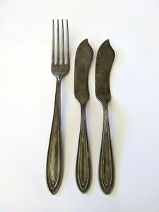 Reed & Barton Sir Galahad Silverplate Bestecke Lot Gabel Butter Spreader 1927 VTG