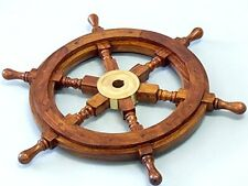 Wooden Nautical Ship Steering Wheel Pirate Home Decor Fishing Boat Wall 12""