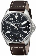 H64611535 Hamilton Khaki Pilot Mens Brown Leather Strap Black Dial Watch New