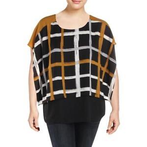 fe9e53a4daf36 Alfani Plus Size Womens Top Printed Plaid Layered Look Blouse Work ...