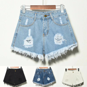 e3c2d97c3b Image is loading Women-Ripped-High-Waisted-Stonewash-Denim-Shorts-Jeans-