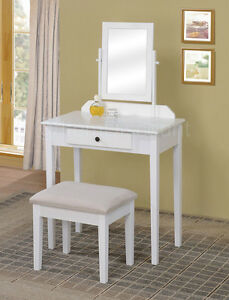contemporary white bedroom vanity set table drawer bench hair makeup mirror wood. Black Bedroom Furniture Sets. Home Design Ideas