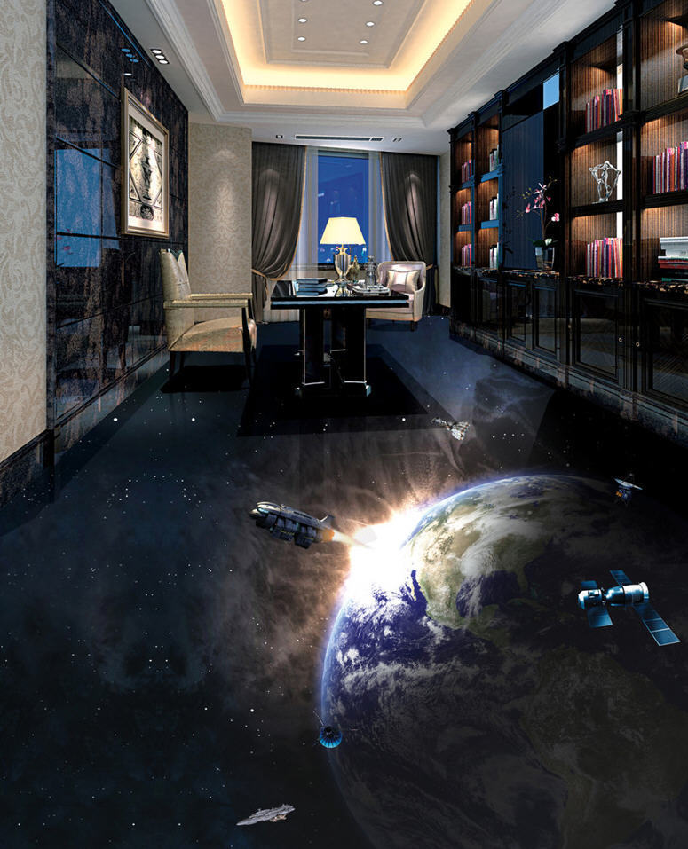 Hit Aganist Earth 3D Floor Mural Photo Flooring Wallpaper Home Print Decoration