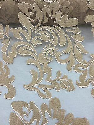 Gold Royalty Pattern High End Stitch With Mesh Stretch Lace Fabric By The Yard