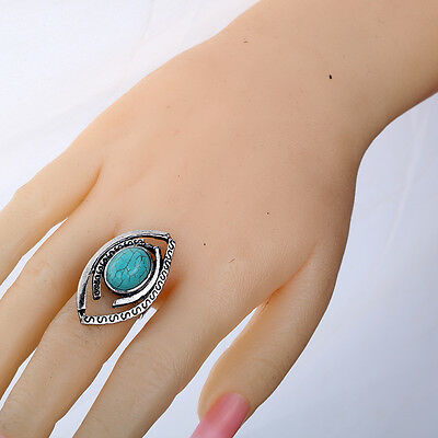 Charms Tibetan Silver Turquoise Jewellery Eyes Design Adjustable Women Ring