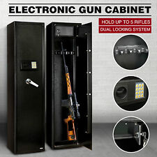 5Gun Rifle Storage Electronic Lock Safe Steel Cabinet Lockbox Firearm Heavy Duty