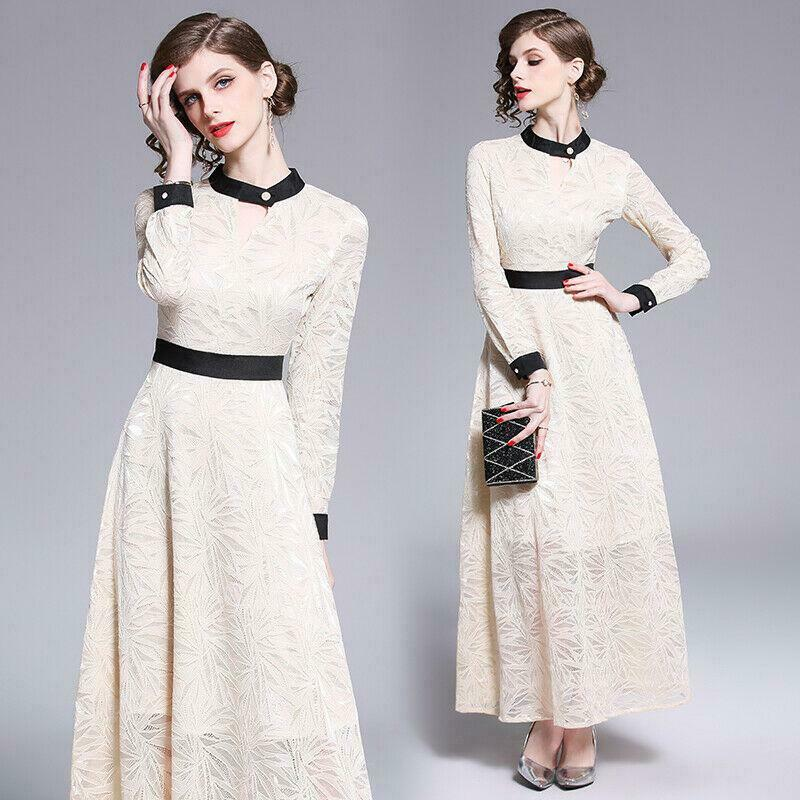 2019 women's fashion temperament stand collar High Waist lace hollow out Dress