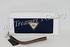 NEW Guess Airlia SLG Zip Around Wallet Checkbook Clutch Navy Multi NWT