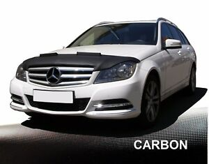 Haubenbra-fuer-Mercedes-C-Klasse-W204-Facelift-Steinschlagschutz-Car-Bra-CARBON