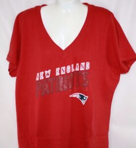 NEW Womens New England PATRIOTS Red V Neck Short Sleeve Shirt NFL ... 3aca5ec90