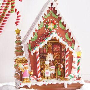 New Raz Imports 12 5 Animated Musical Gingerbread Man Candy House Base Decor Ebay