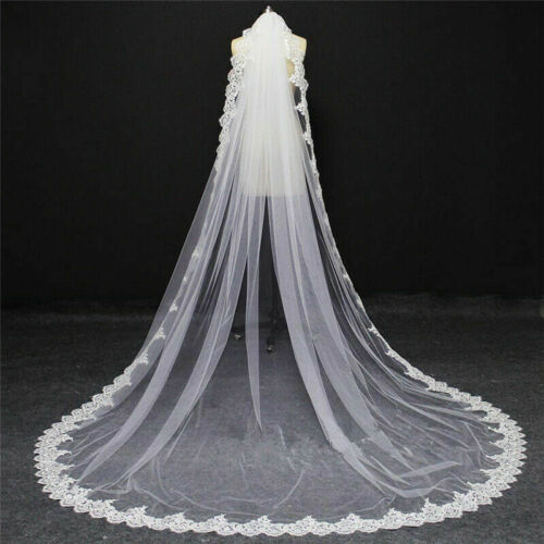 Veils 1 Layer Sequins Lace Edge Bridal Veil 3m Wedding Veils Accessories With Comb Clothing Shoes Accessories